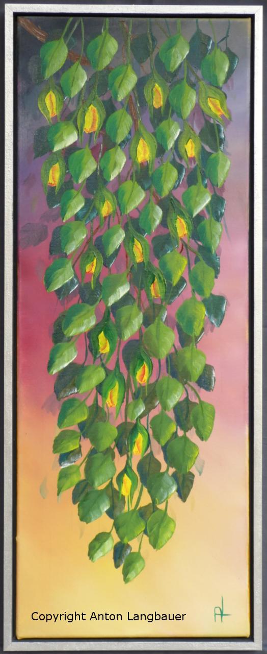 Blätter mit Rosenknospen