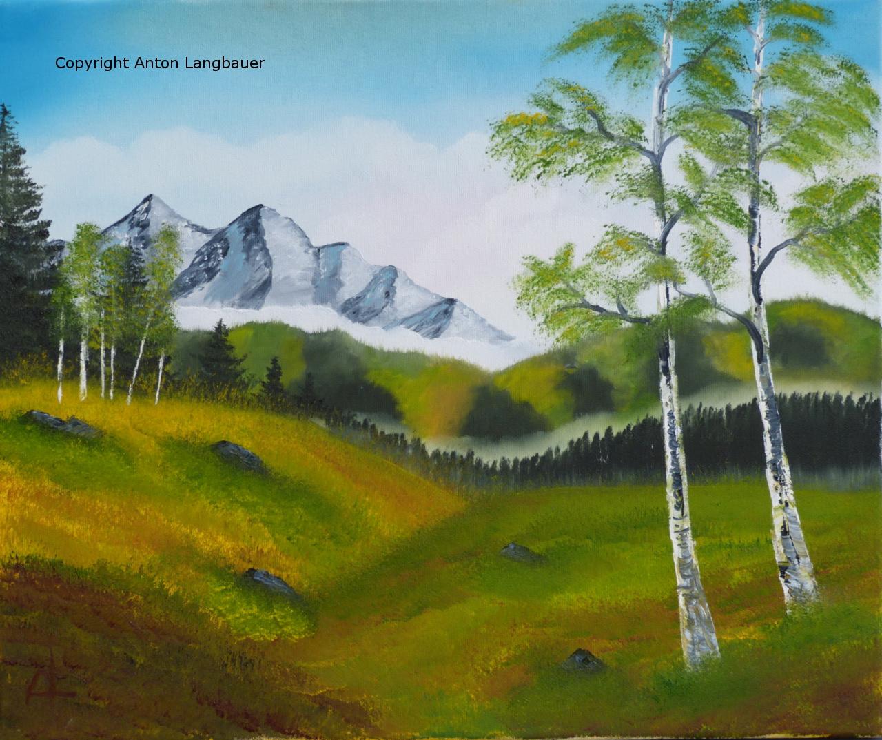 Landschaft mit Birken